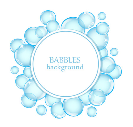 Round background with shiny soap bubbles and space for text