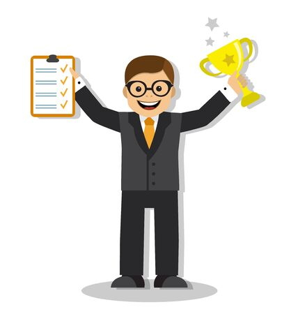 Happy winner businessman holding a list of completed cases and the gold cup