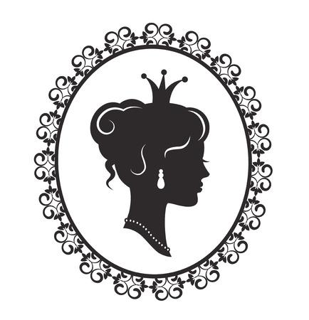 Silhouet van een mooie prinses in het profiel in de ouderwetse patroon frame op een witte achtergrond