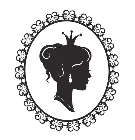 Silhouette of a beautiful princess in the profile in the old-fashioned patterned frame on a white background Vectores