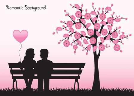 Silhouetten verliefde paar zittend op een bankje naast een kersenboom met bloemen.