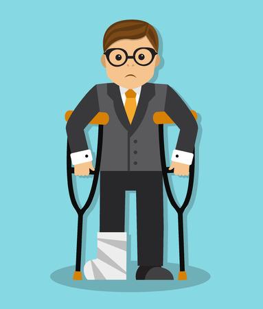 pierna rota: hombre de negocios con muletas y un yeso en la pierna