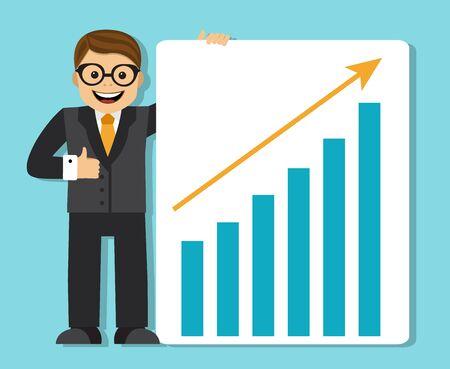 personaje: feliz hombre de negocios exitoso que muestra un cartel y un horario con un ingreso cada vez mayor y la flecha hacia arriba