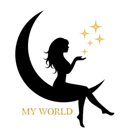 luna caricatura: bonita silueta de una chica con el pelo largo que se sienta en la luna y la celebración de una estrella