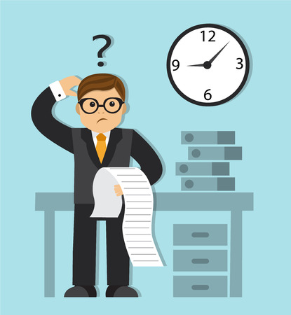 paying bills: A sad businessman in a business suit standing holding a paper, looks at the clock and feels headache and worries about paying a lot of bills. Problem, worries concept. A contemporary style with pastel palette soft blue Illustration