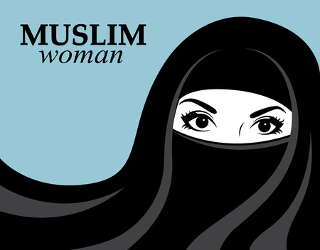 Muslim woman in black hijab and nikab on a blue background Illustration