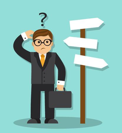 Cartoon zakenman met werkmap staan en wist niet welke weg te gaan