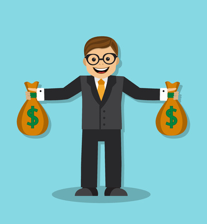 happy businessman holding a bag with money