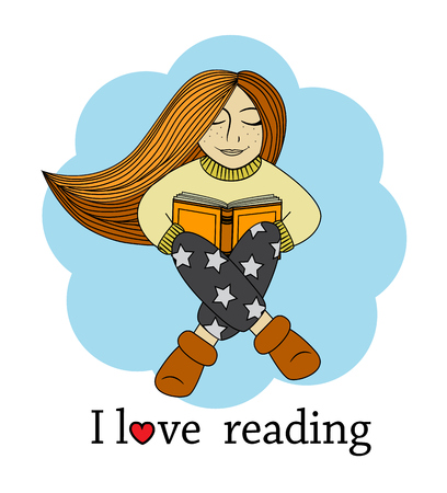 reading books: Cartoon redhead girl sitting and holding book