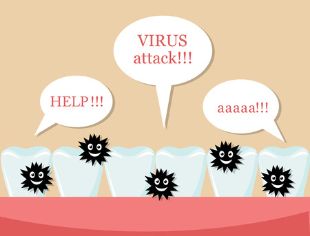 dentist: series healthy white teeth and germs. Teeth call for help.
