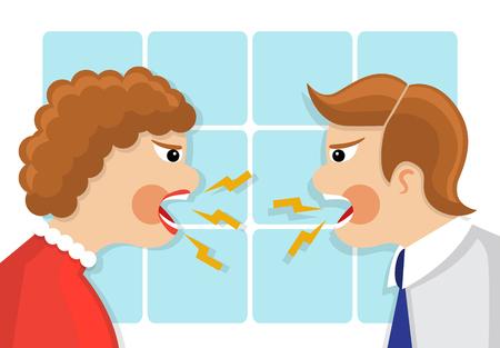 personas discutiendo: conflictos familiares. El hombre y la mujer se colocan delante de la otra y en voz alta maldiciendo