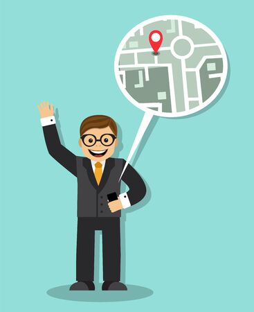 one lane street sign: happy businessman holding telefon.Telefon with the navigator shows the persons whereabouts on the map Illustration
