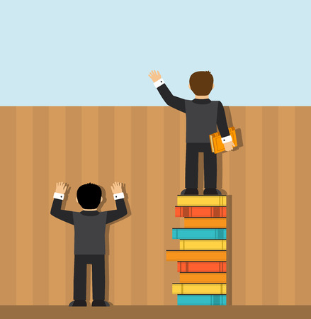 Two people standing in front of a fence. One man standing on the ground, and only sees the wall. Another man is standing on a pile of books and sees everything behind the fence.
