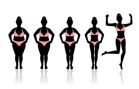 silhouettes de femmes à perdre du poids. Dernière silhouette dans un saut. femmes heureux d'avoir été en mesure de perdre du poids