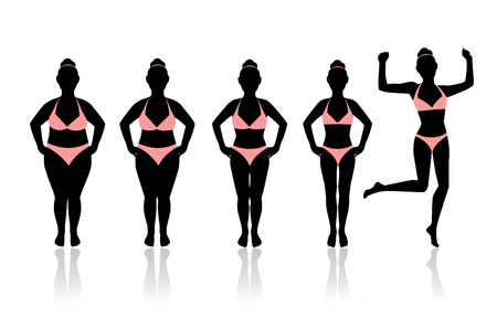 weight loss: silhouettes of women losing weight. Last silhouette in a jump. women Glad I was able to lose weight Illustration