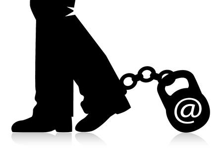 cadenas: piernas van al pie de la cadena sujeta con pesas. Kettlebell simboliza relación en línea