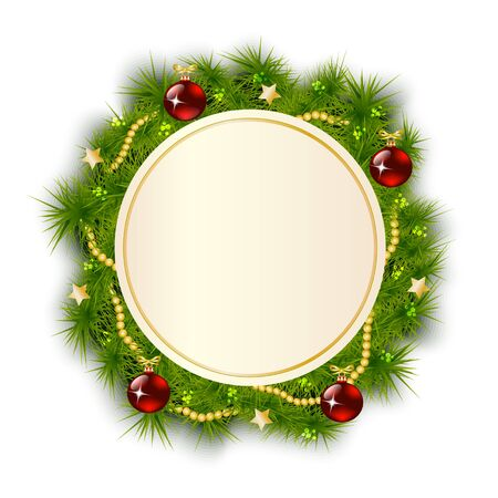 fir tree balls: round card background with a Christmas wreath of fir branches decorated with toys