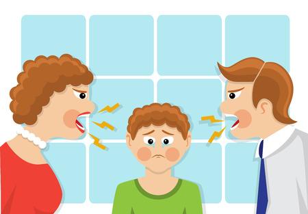 maltrato infantil: Los padres gritar y regañar al niño. El niño estaba llorando y molesto. El conflicto de las generaciones y la disputa familiar. ilustración