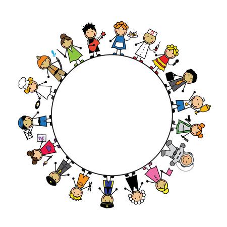 girotondo bambini: Set del fumetto dei bambini in costumi delle diverse professioni e sfondo circolare bianco Vettoriali