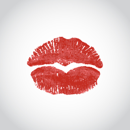 Red lips imprint in the shape of a heart on a light background. illustration