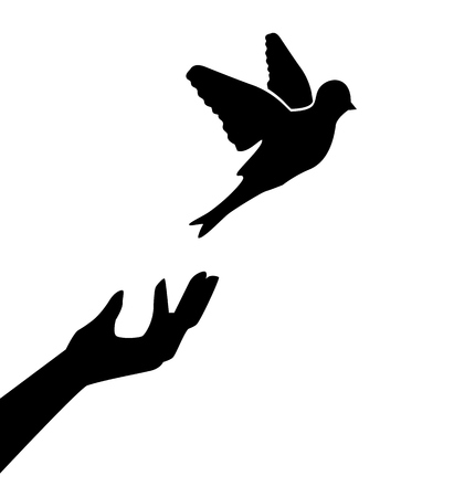 captivity: Silhouette of the human hand, which releases the bird and the bird flies