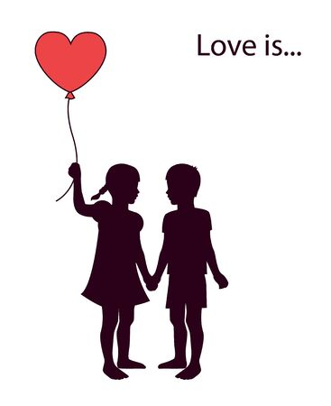 cartoons outline: a pair of lovers of children holding heart-shaped balloon