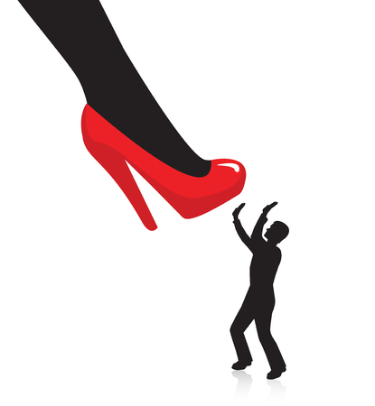 silhouette woman: Womens leg in high heels preparing to crush a man. little Silhouette of a man trying to close a and hands