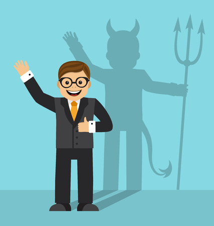 Happy businessman smiling, and on the wall you can see his shadow devil with horns and a tail