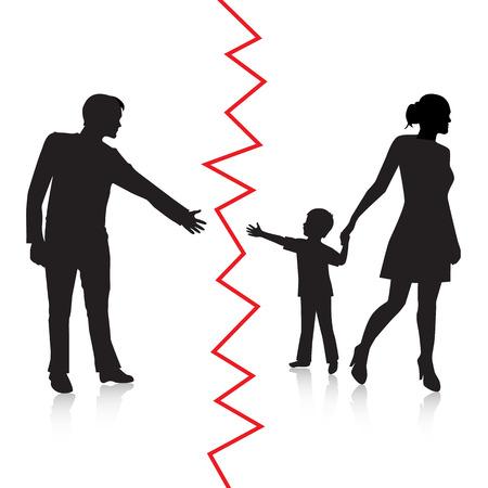 Silhouette eines Mannes zu seinem jungen Kind zu erreichen, aber die Mutter entfernt, das Kind auf die andere Seite und wird vom Vater getrennt