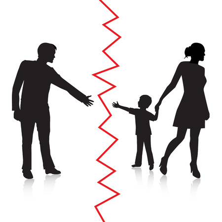 breaking law: silhouette of a man reaching to his young child, but the mother removes the child to the other side and is separated from the father