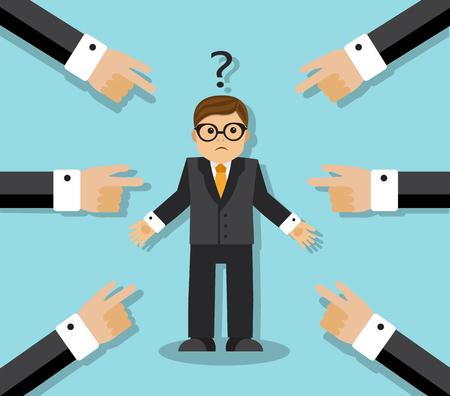 dedo: Todo con el dedo a un empleado. El hombre de negocios confundido y signo de interrogación sobre su cabeza Vectores