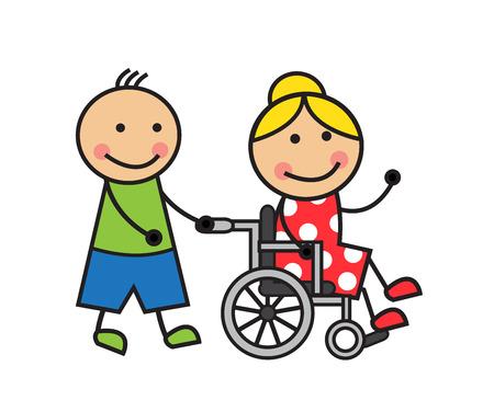 Cartoon woman in a wheelchair and a man wheelchair wheels