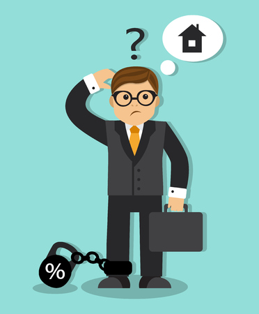 a leg: businessman dream to buy a house. The man puzzled over his head, and a question mark on his leg weight