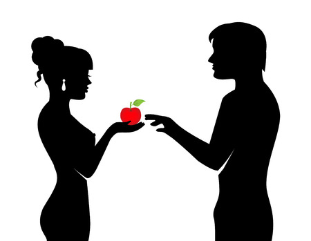 adam eve: Silhouette outspoken woman holding an apple on palm and hands it to the man Illustration