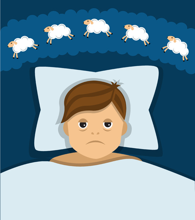 tired man: man lying in bed, the man was very tired but can not sleep, and counting sheep Illustration
