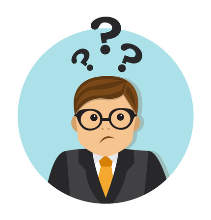 standing man: businessman thinking and can not decide. Overhead, question marks Illustration
