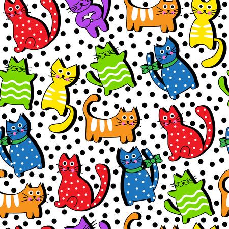 Cartoon nahtlose bunten Katzen und schwarze Kreise auf einem weißen Hintergrund