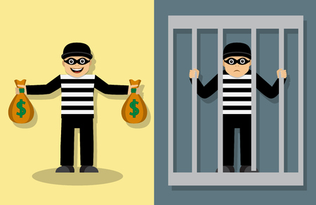 joyful thief in a mask standing and holding bags of money. Sad thief is in jail