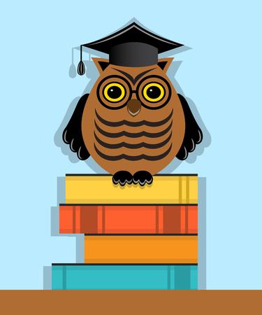 graduacion caricatura: b�ho graduado en el casquillo que se sienta en una pila de libros Vectores