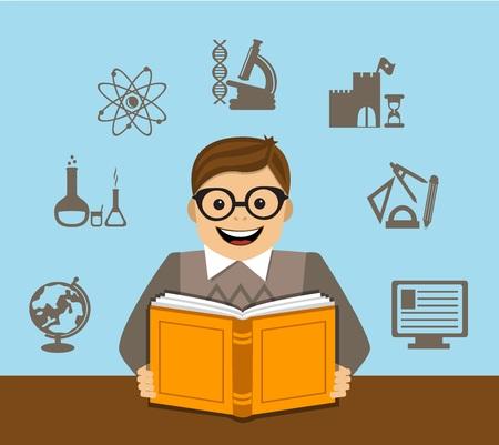 computadora caricatura: estudiante lee un libro en stolom.background diferentes símbolos y signos educativos Vectores