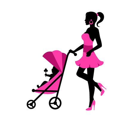 strolling: Young woman in a dress and walking with a baby stroller rolls