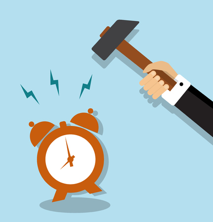 demolishing: alarm clock ringing loudly and it stretches a hand holding a hammer Illustration