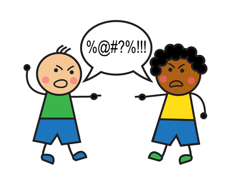 hostility: black man and caucasian man swear and conflict Illustration