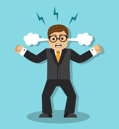 enfado: Hombre de negocios enojado en una rabia es tenso y apretó los puños