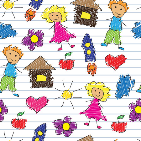 notebook paper background: Seamless background with multi-colored childrens scribbles on a background of lined notebook paper