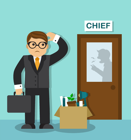 downsizing: sad businessman with a box of things is at the door of the chief. Behind the door is visible silhouette of the boss, he shouts and gesticulates