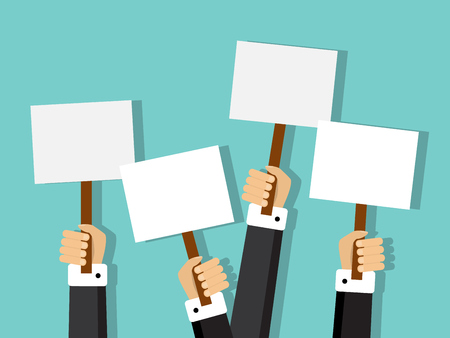 majority: group of businessmen holding different signs with space for text