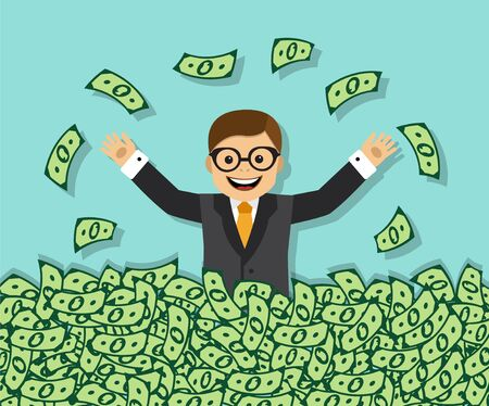 financial advisors: Happy businessman sitting in a huge pile of money