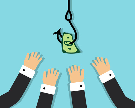 hanging dangling: business people eagerly pulling his hands to the hook on which hung the money Illustration