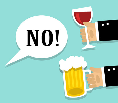 Hands stretch a cup of wine and beer. Man refuses alcohol Vettoriali